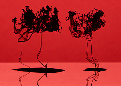 Black ink, red background, CGI - p1652m2230717 by Callum Ollason