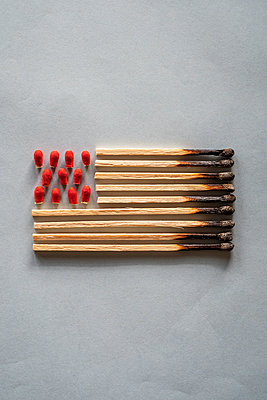 Representation of the Stars and Stripes flag, made of burnt matches and match heads cut off - p1302m2122523 by Richard Nixon