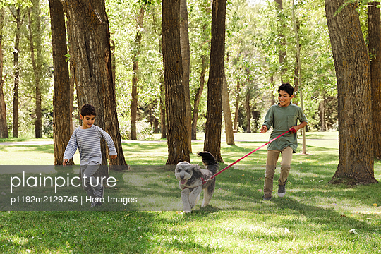 Two brothers walking dog in urban park - p1192m2129745 by Hero Images