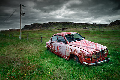 iceland countryside with an old car - p1166m2190026 by Cavan Images