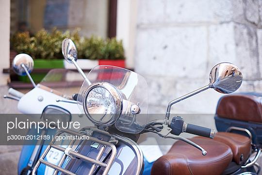 Old motor scooter, partial view - p300m2012189 von gpointstudio