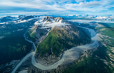 Aerial view of the glaciers and mountains of Kluane National Park and Reserve, near Haines Junction; Yukon, Canada - p442m2034554 by Robert Postma
