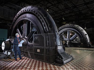 Industrial monument of the turbine hall, Völklinger Hütte - p390m2063874 by Frank Herfort
