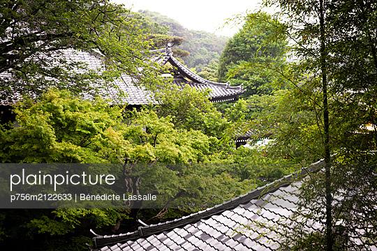 Japanese temples among trees - p756m2122633 by Bénédicte Lassalle