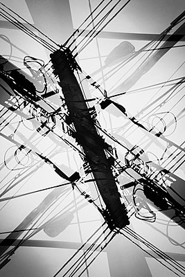 Street lights and cables in double exposure - p301m960777f by Michael Mann