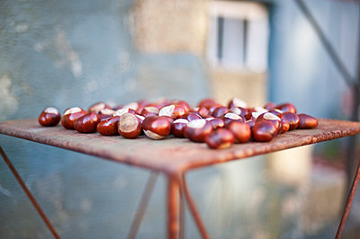 Chestnuts on rusty table - p312m1147577 by Rebecca Wallin