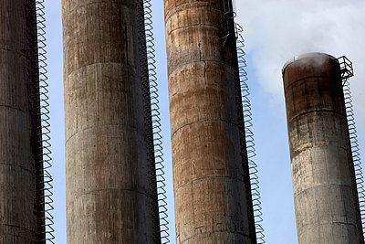 Close-up Of Cement Silos - p816m913882 by Roger Hardy