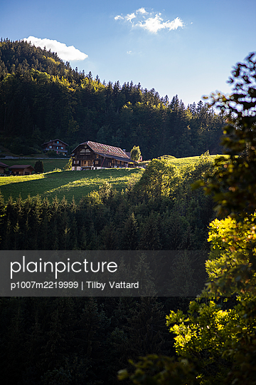Farmhouse in mountain pasture - p1007m2219999 by Tilby Vattard