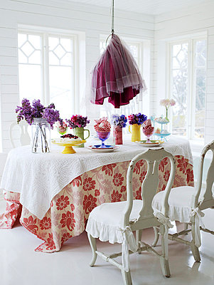 Scandinavia, Sweden, Stockholm, View of dining room - p5282287 by Anna Kern