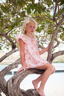 Blondes Mädchen sitzt gemnütlich auf Ast - p045m2007861 von Jasmin Sander