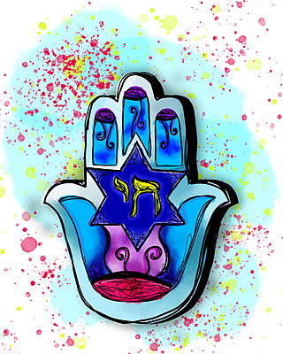 Hamsa Illustration - p1655m2288459 by lindsay basson