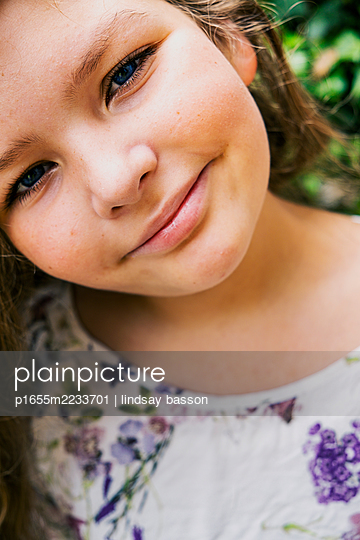 Young Girl with Blue Eyes - p1655m2233701 by lindsay basson