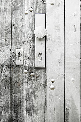 Potsdam, silbern bespruehte bemalte Tuer mit zwei Schloessern - p627m1035281 von Hendrik Rauch