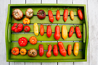 Wooden tray with various tomatoes, stage of ripeness, overripe, moulding - p300m2079017 by Dieter Heinemann