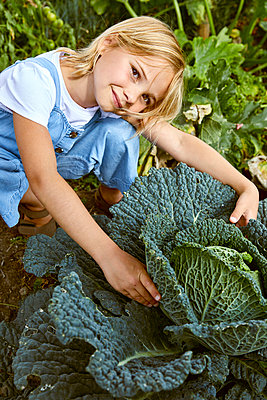 little girl in a vegetable garden - p1540m2200499 by Marie Tercafs