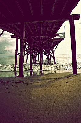 Pier in California - p1047m781096 by Sally Mundy