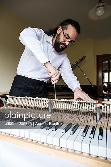 Piano tuner tuning grand piano - p300m1205975 by Andrés Benitez
