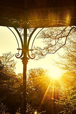 Ornamented pillar of pavillion at sunrise - p1312m2216073 by Axel Killian