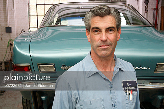 Portrait of auto mechanic - p3722672 by James Godman