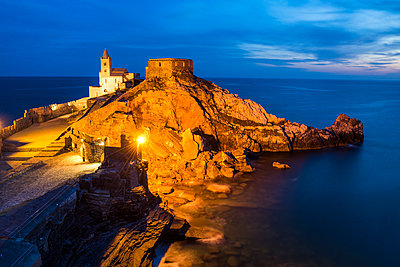 Church of St. Peter at Night, Portovenere,  Liguria, Italy - p651m2006116 by Tom Mackie