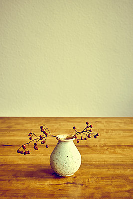 Vase with branch and red berries on tabletop - p1312m2151290 by Axel Killian