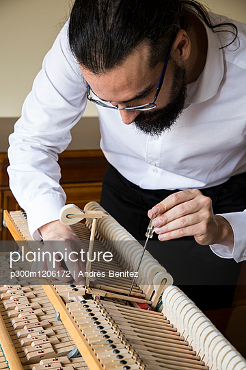 Piano tuner tuning grand piano - p300m1206172 by Andrés Benitez