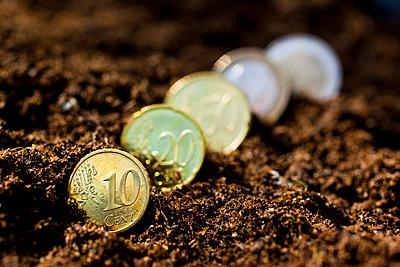 Euro coins in soil - p4267746f by Tuomas Marttila