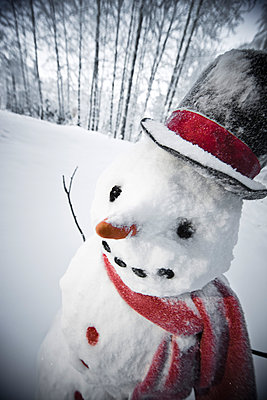 Portrait Of Snowman With Red Scarf And Black Top Hat, Winter, Eagle River, Southcentral Alaska, Fall - p442m967028 by Kevin Smith