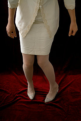 A bride with stockings - p6780022 by Christine Mathieu