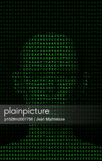 DNA sequencing and anthropomorphic head - p1028m2007756 by Jean Marmeisse