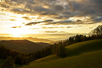 Black Forest in the sunset with a view of the valley - p1312m2161008 by Axel Killian