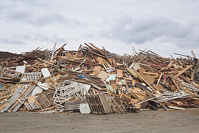 Pile Of Discarded Wood At Waste Management Site, Sweden   - p847m987979 by Johan Strindberg