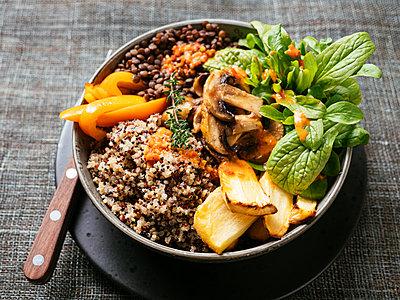Lentil Quinoa Bowl, lentils, quinoa, bell pepper, roasted parsnips, field salad, mushrooms, spicy vegan sauce - p300m1581126 von Harald Walker