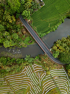 Car bridge and fields, aerial view - p1108m2141990 by trubavin