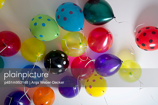 Balloons at the ceiling - p451m953148 by Anja Weber-Decker