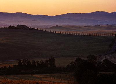 Tuscany, San Quirico dell` Orcia landscape in twilight - p2681197 by Rudi Sebastian