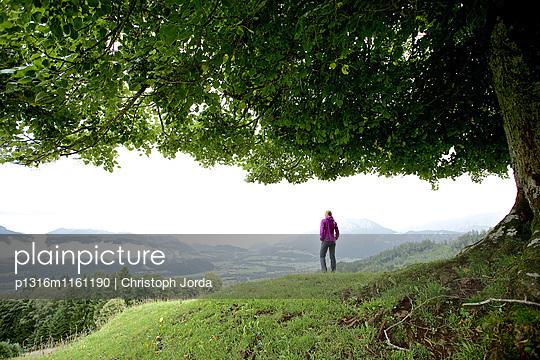 Frau betrachtet Aussicht, Chiemgau, Bayern, Deutschland - p1316m1161190 von Christoph Jorda