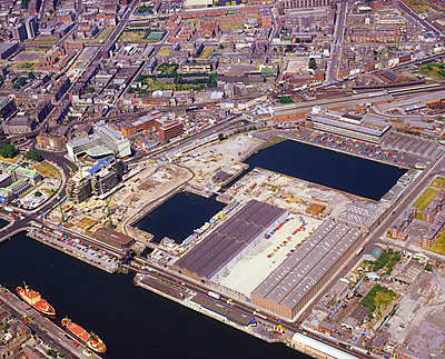 Dublin, Co Dublin, Ireland; Aerial view of the Custom House docks - p4428894 by The Irish Image Collection