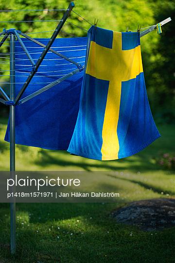 Handtuch mit Motiv der schwedischen Flagge - p1418m1571971 von Jan Håkan Dahlström