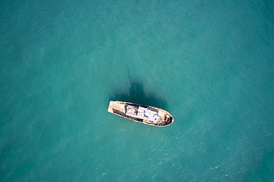 Old lonely fishing boat - p1630m2229334 by Sergey Mironov
