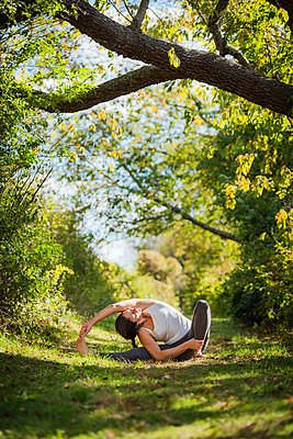 Outdoor Yoga in Rhode Island - p343m1217998 by Cate Brown
