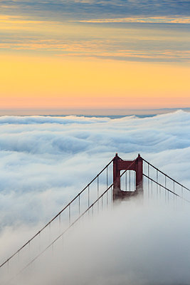 Golden Gate Bridge emerging from the morning fog at sunrise. San Francisco, Marin County, California, USA. - p651m2006654 by ClickAlps