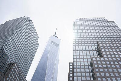 Low angle view of sunlit One World Trade Center, New York, USA - p429m1179778 by Oscar Bjarnason