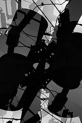 Electricity pylon components and cables in double exposure - p301m960810f by Michael Mann