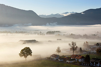 View of village in fog - p300m660069f by Martin Siepmann