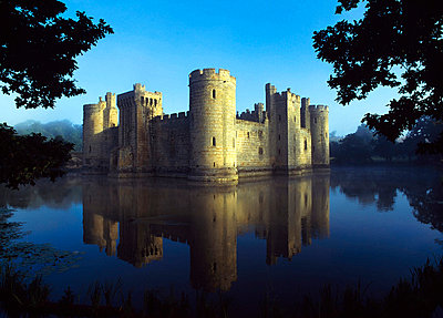 The majestic Bodiam Castle and its reflection in surrounding moat. - p6441306 by Chris Parker
