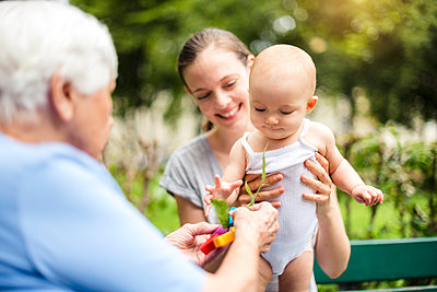 Baby girl with grandmother and mother in a park - p300m1550195 by Daniel Ingold