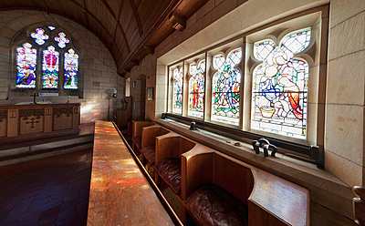 Stained Glass Windows Inside A Church; Northumberland England - p442m699815f by John Short