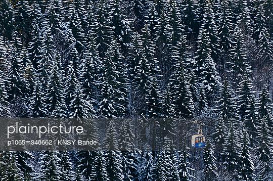 Skilift über verschneiter Waldlandschaft - p1065m948662 von KNSY Bande