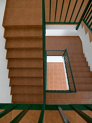 Staircase with terracotta tiles - p1280m2126805 by Dave Wall